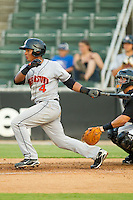 Adrian Sanchez #4 of the Hagerstown Suns follows through on his swing against the Kannapolis Intimidators at Fieldcrest Cannon Stadium August 10, 2010, in Kannapolis, North Carolina.  Photo by Brian Westerholt / Four Seam Images
