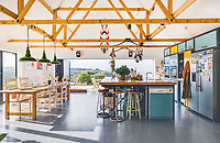 BNPS.co.uk (01202 558833)<br /> Pic: LillicrapChilcott/BNPS<br /> <br /> Pictured: The kitchen.<br /> <br /> Homebuyers can get the best of coast and country with this spectacular house on the market for offers in excess of £1.5m.<br /> <br /> Westfield sits in an incredible position with views over its own land and the sea at Trevaunance Cove in Cornwall.<br /> <br /> The four-bedroom family home is on the edge of the sought-after village of St Agnes, popular with locals, second home owners and holidaymakers.<br /> <br /> The hub of the home is the open-plan kitchen/family room with a folding door that opens up to the sea-facing terrace.