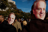 """October 30, 2010<br /> Washington DC<br /> District of Columbia<br /> <br /> Comedians Jon Stewart and Stephen Colbert entertained a huge crowd at the """"Rally to Restore Sanity"""" and """"Keep Fear Alive"""" to poking fun at the nation's ill-tempered politics, fear-mongers and doomsayers.<br /> <br /> Part comedy show, part pep talk, the rally drew together tens of thousands stretched across an expanse of the National Mall, a festive congregation of the goofy and the politically disenchanted.<br /> <br /> Glenn Beck masks in the crowd."""