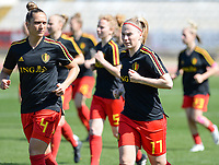 20180228 - LARNACA , CYPRUS :  Belgian Maud Coutereels (left) and Jana Coryn (r) pictured during warming up of the women's soccer game between The Belgian Red Flames and the Czech Republic , on wednesday 28 February 2018 at GSZ Stadium in Larnaca , Cyprus . This is the first game in group B for Belgium during the Cyprus Womens Cup , a prestigious women soccer tournament as a preparation on the World Cup 2019 qualification duels. PHOTO SPORTPIX.BE   DAVID CATRY