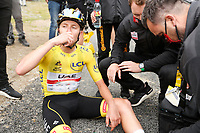 14th July 2021, Muret, France;  POGACAR Tadej (SLO) of UAE TEAM EMIRATES recovers after stage 17 of the 108th edition of the 2021 Tour de France cycling race, a stage of 178,4 kms between Muret and Saint-Lary-Soulan.
