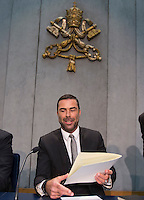 Il presidente dell'Autorità di Informazione Finanziaria (AIF) Rene' Brulhart durante la conferenza stampa per la presentazione del rapporto annuale, Citta' del Vaticano, 28 aprile 2016.<br /> Rene' Bruelhart, president of the Financial Information Authority (AIF) of Vatican City, attends a press conference to present the annual report, at the Vatican, 28 April 2016.<br /> UPDATE IMAGES PRESS/Riccardo De Luca<br /> <br /> STRICTLY ONLY FOR EDITORIAL USE