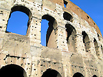 Close up view of exterior wall of Colosseum in Rome, Italy.