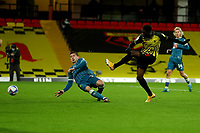 26th December 2020; Vicarage Road, Watford, Hertfordshire, England; English Football League Championship Football, Watford versus Norwich City; Kenny McLean of Norwich City cannot block the shot from Ismaila Sarr of Watford