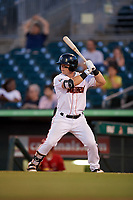 Jupiter Hammerheads right fielder Cameron Baranek (8) at bat during a game against the Palm Beach Cardinals on August 4, 2018 at Roger Dean Chevrolet Stadium in Jupiter, Florida.  Palm Beach defeated Jupiter 7-6.  (Mike Janes/Four Seam Images)