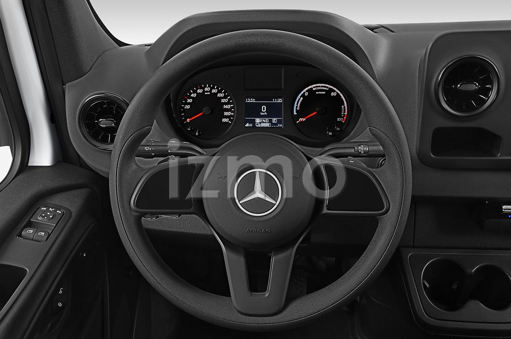 Car pictures of steering wheel view of a 2021 Mercedes Benz eSprinter - 4 Door Cargo Van Steering Wheel