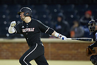 Justin Lavey (16) of the Louisville Cardinals follows through on his swing against the Wake Forest Demon Deacons at David F. Couch Ballpark on March 6, 2020 in  Winston-Salem, North Carolina. The Cardinals defeated the Demon Deacons 4-1. (Brian Westerholt/Four Seam Images)