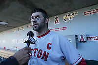 Jason Varitek of the Boston Red Sox does an interview after a game against the Los Angeles Angels in a 2007 MLB season game at Angel Stadium in Anaheim, California. (Larry Goren/Four Seam Images)