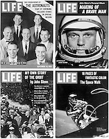 This photo made available in 1986 by ABC shows a 4 photo combination of some of Life Magazine's space coverage. Magazine publisher Time Inc. is shutting down Life magazine again, a brand it had resuscitated in late 2004 as a newspaper supplement. Time Inc. said in a statement Monday, March 26, 2007 that it would keep the Life brand going on the Internet, where it will launch a Web site with photos from its massive image collection, and by publishing books. (AP Photo/ABC)