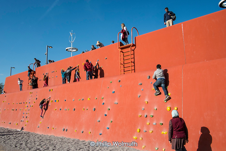 Climbing wall at the Queen Elizabeth Olympic Park, Stratford.