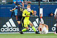 CARSON, CA - JUNE 19: Stefan Cleveland #30 GK of the Seattle Sounders FC defending his goal from an advancing Javier Hernandez #14 of the Los Angeles Galaxy during a game between Seattle Sounders FC and Los Angeles Galaxy at Dignity Health Sports Park on June 19, 2021 in Carson, California.