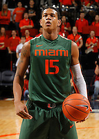 CHARLOTTESVILLE, VA- JANUARY 7: Rion Brown #15 of the Miami Hurricanes handles the ball during the game against the Virginia Cavaliers on January 7, 2012 at the John Paul Jones Arena in Charlottesville, Virginia. Virginia defeated Miami 52-51. (Photo by Andrew Shurtleff/Getty Images) *** Local Caption *** Rion Brown