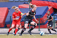 Jana Simons (8) of Woluwe pictured in a duel with Lotte De Wilde (19) of Zulte-Waregem during a female soccer game between FC Femina White Star Woluwe and SV Zulte Waregem on the fifth matchday of play off 2 in the 2020 - 2021 season of Belgian Scooore Womens Super League , Saturday 8 th of May 2021  in Woluwe , Belgium . PHOTO SPORTPIX.BE   SPP   DAVID CATRY