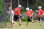 GER - Hannover, Germany, May 31: During the Men Lacrosse Playoffs 2015 match between SCC Blax (red) and ABV Stuttgart 1863 (white) on May 31, 2015 at Deutscher Hockey-Club Hannover e.V. in Hannover, Germany. (Photo by Dirk Markgraf / www.265-images.com) *** Local caption ***