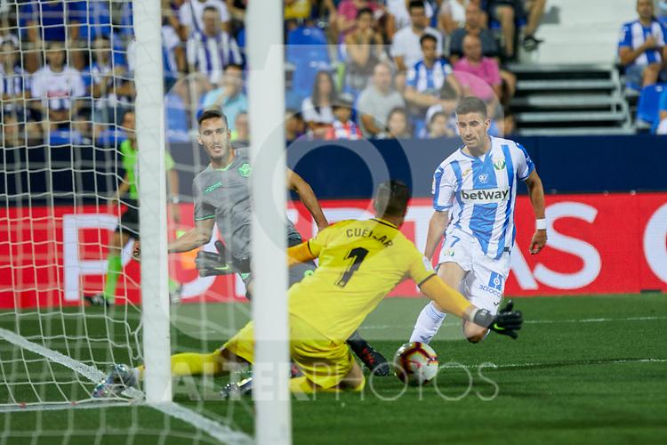 Leganes' Ivan Cuellar (l) and Daniel Ojeda (r) and Real Sociedad's Joseba Zaldua during La Liga match. August 24, 2018. (ALTERPHOTOS/A. Perez Meca)