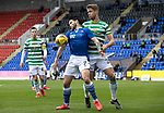 St Johnstone v Celtic…04.10.20   McDiarmid Park  SPFL<br />Craig Conway holds off Kristoffer Ajer<br />Picture by Graeme Hart.<br />Copyright Perthshire Picture Agency<br />Tel: 01738 623350  Mobile: 07990 594431