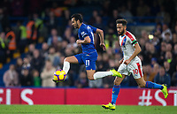 PEDRO of Chelsea under pressure from Andros Townsend of Crystal Palace during the Premier League match between Chelsea and Crystal Palace at Stamford Bridge, London, England on 4 November 2018. Photo by Andy Rowland.<br /> .<br /> (Photograph May Only Be Used For Newspaper And/Or Magazine Editorial Purposes. www.football-dataco.com)