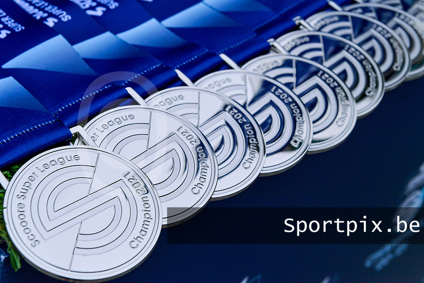 illustration picture showing the Champions medals during the celebration of their Belgian Scooore Womens Super League 2020 - 2021 title after winning the championship , saturday 5 th of June 2021 in Anderlecht , Belgium . PHOTO SPORTPIX.BE | SPP | STIJN AUDOOREN