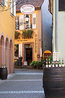 wine shop on a side street metz freres ribeauville alsace france
