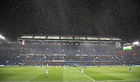 General view as snow falls at the Kick off for the 2nd half during the FA Youth Cup FINAL match between Chelsea U18 and Man City U18 at Stamford Bridge, London, England on 27 April 2016. Photo by Andy Rowland.