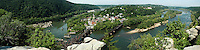 Harpers Ferry, West, Virginia panoramic photograph taken from the Maryland Heights. The photograph shows the Potomac and Shenandoah Rivers, the railroad bridge across the Potomac and the town of Harpers Ferry.