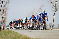 peloton led by Team Deceuninck - QuickStep & Team Groupama - FDJ rolling through De Moeren<br /> <br /> 45th Oxyclean Classic Brugge-De Panne 2021 (ME/1.UWT)<br /> 1 day race from Bruges to De Panne (204km)<br /> <br /> ©kramon