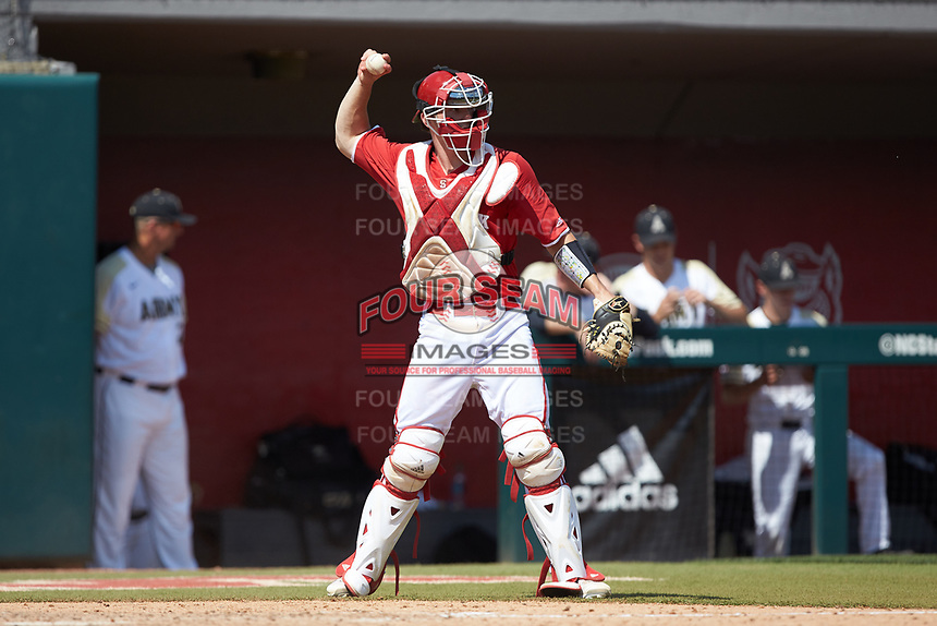 North Carolina State Wolfpack catcher Patrick Bailey (5) on defense against the Army Black Knights at Doak Field at Dail Park on June 3, 2018 in Raleigh, North Carolina. The Wolfpack defeated the Black Knights 11-1. (Brian Westerholt/Four Seam Images)
