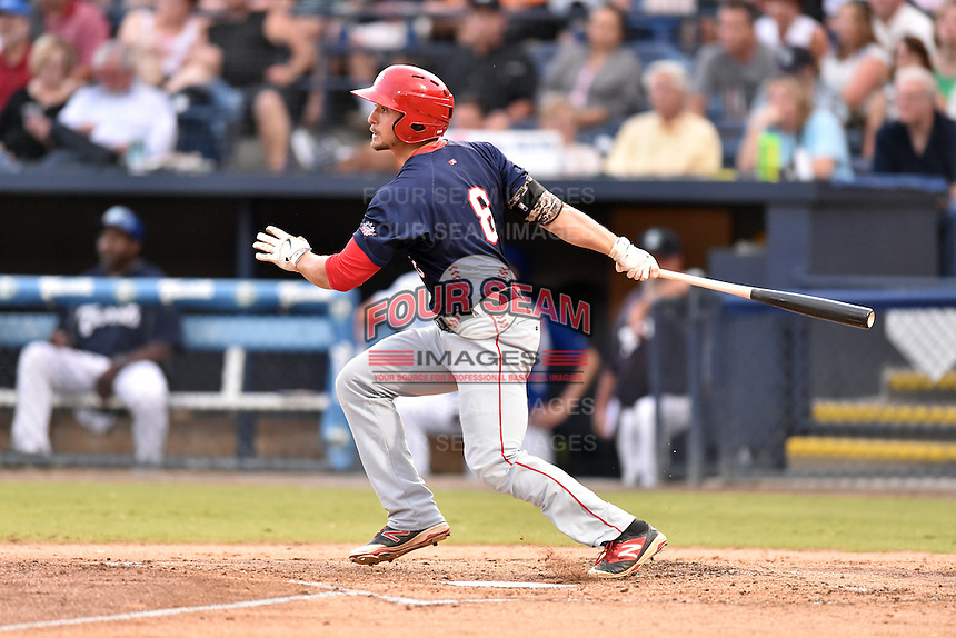 Hagerstown Suns right fielder Rhett Wiseman (8) swings at a pitch during a game against the  Asheville Tourists at McCormick Field on September 4, 2016 in Asheville, North Carolina. The Suns defeated the Tourists 10-5. (Tony Farlow/Four Seam Images)