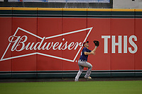 Binghamton Rumble Ponies Jason Krizan (14) catches a fly ball during an Eastern League game against the Richmond Flying Squirrels on May 29, 2019 at The Diamond in Richmond, Virginia.  Binghamton defeated Richmond 9-5 in ten innings.  (Mike Janes/Four Seam Images)