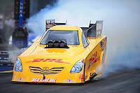 Jun. 19, 2011; Bristol, TN, USA: NHRA funny car driver Jeff Arend during eliminations at the Thunder Valley Nationals at Bristol Dragway. Mandatory Credit: Mark J. Rebilas-