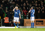 St Johnstone v Celtic…..29.01.20   McDiarmid Park   SPFL<br />Jason Holt and Callum Booth react after Callum McGreor scores<br />Picture by Graeme Hart.<br />Copyright Perthshire Picture Agency<br />Tel: 01738 623350  Mobile: 07990 594431