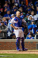 Chicago Cubs catcher David Ross (3) in the sixth inning during Game 5 of the Major League Baseball World Series against the Cleveland Indians on October 30, 2016 at Wrigley Field in Chicago, Illinois.  (Mike Janes/Four Seam Images)