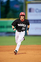 Chattanooga Lookouts catcher Brian Olson (30) runs the bases during a game against the Jackson Generals on May 9, 2018 at AT&T Field in Chattanooga, Tennessee.  Chattanooga defeated Jackson 4-2.  (Mike Janes/Four Seam Images)