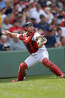 Catcher Dan Butler (#32)of the Portland Sea Dogs in action at the 2011 Futures at Fenway minor league doubleheader featuring the  Sea Dogs and the Binghamton Mets on August 20, 2011 at Fenway Park in Boston, Massachusetts. (Ken Babbitt/Four Seam Images)