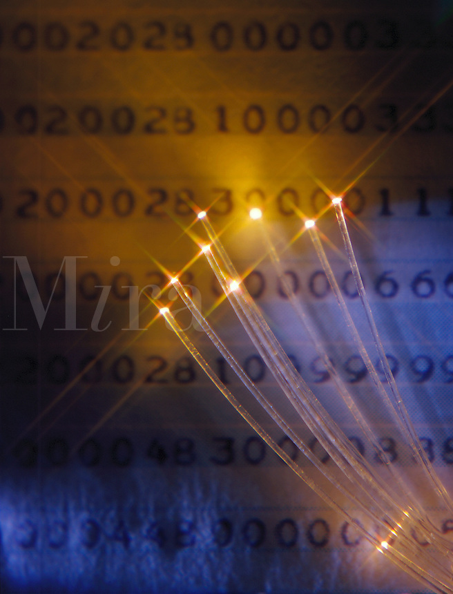 Optical fibers illuminate a page of computer-generated code.
