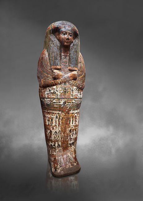 Ancient Egyptian sarcophagus of Royal scribe Butehamon, Thebes, 21st Dynasty, reign of Ramese XI, (1078 or 1077 BC ). Egyptian Museum, Turin. Grey background<br /> <br /> <br /> Butehamon was a key figure between the end of the New Kingdom (Twentieth Dynasty, reign of Ramesse XI) and the beginning of the Third Intermediate Period (Twenty-First Dynasty, reign of Smendes). Born into an illustious family he became a man of letters