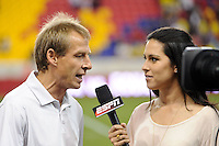 United States head coach Jurgen Klinsmann is interviewed after the match. The men's national team of the United States (USA) was defeated by Ecuador (ECU) 1-0 during an international friendly at Red Bull Arena in Harrison, NJ, on October 11, 2011.
