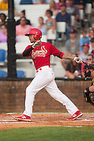 Edmundo Sosa (19) of the Johnson City Cardinals follows through on his swing against the Bristol Pirates at Howard Johnson Field at Cardinal Park on July 6, 2015 in Johnson City, Tennessee.  The Cardinals defeated the Pirates 8-2 in game two of a double-header. (Brian Westerholt/Four Seam Images)