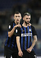 Calcio, Serie A: SS Lazio vs Internazionale Milano, Olympic stadium, Rome, October 29, 2018.<br /> Inter's IIvan Perisic (l) and Marcelo Brozovic (r) celebrate after winning 3-0 the Italian Serie A football match between SS Lazio and Inter Milan at Rome's Olympic stadium, on October 29, 2018.<br /> UPDATE IMAGES PRESS/Isabella Bonotto