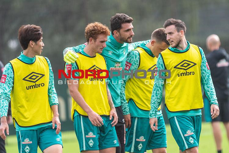 09.09.2020, Trainingsgelaende am wohninvest WESERSTADION - Platz 12, Bremen, GER, 1.FBL, Werder Bremen Training<br /> <br /> Yuya Osako (Werder Bremen #08)<br /> Joshua Sargent (Werder Bremen #19)<br /> Stefanos Kapino (Werder Bremen #27)<br /> Maximilian Eggestein (Werder Bremen #35)<br /> Kevin Möhwald / Moehwald (Werder Bremen #06)<br /> <br /> <br /> <br /> Foto © nordphoto / Kokenge
