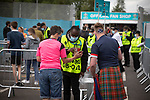 Scotland 0 Czech Republic 2, 14/06/2021. Hampden Park, European Championships Group D. Home supporters going through security outside Hampden Park, Glasgow as fans make their way to the European Championship game between Scotland and Czech Republic. The tournament was held over from 2020 due to the Covid-19 pandemic and featured 24 teams playing at venues across Europe. The visitors won this Group D match 2-0, watched by a restricted capacity crowd of just under 10,000. Photo by Colin McPherson.