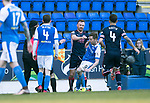 St Johnstone v Ross County…24.02.18…  McDiarmid Park    SPFL<br />Craig Curran shoves Steven MacLean to the ground and is sent off by referee Willie Collum<br />Picture by Graeme Hart. <br />Copyright Perthshire Picture Agency<br />Tel: 01738 623350  Mobile: 07990 594431
