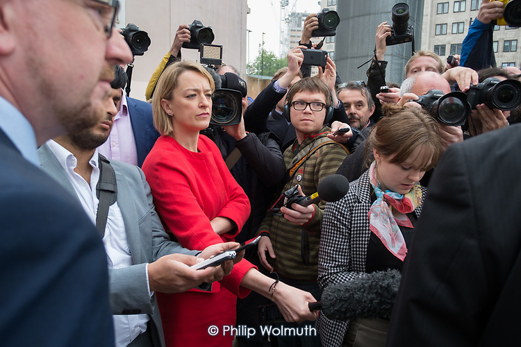 Laura Kuenssberg BBC, other journalists and photographers at Labour Party general election campaign poster launch, London.