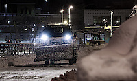 Pictured: A snow plough clears snow in Larissa, central Greece Thursday 12 January 2017<br /> Re: Heavy snow has affected most parts of Greece.