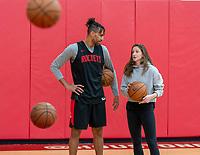 HOUSTON, TX - FEBRUARY 1: Thabo Sefolosha of the Houston Rockets talks with Andi Sullivan #6 of the United States at Houston Rockets Training Center on February 1, 2020 in Houston, Texas.