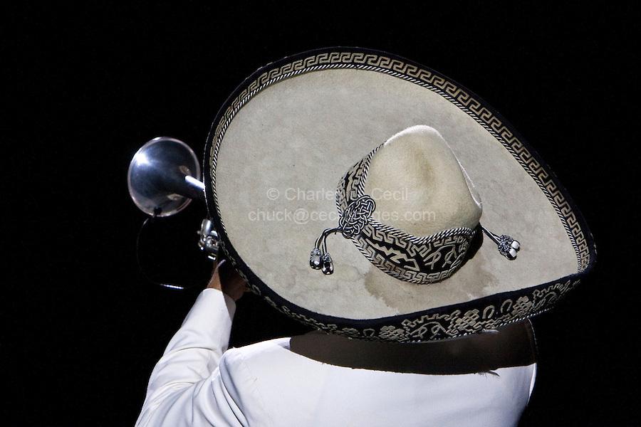 "Sombrero of a Mariachi Trumpet Player, Performance of ""Mexico Espectacular"", Xcaret, Playa del Carmen, Riviera Maya, Yucatan, Mexico."