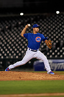 AZL Cubs 1 relief pitcher Herson Perez (4) during an Arizona League game against the AZL Athletics Gold at Sloan Park on June 20, 2019 in Mesa, Arizona. AZL Athletics Gold defeated AZL Cubs 1 21-3. (Zachary Lucy/Four Seam Images)