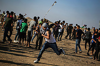 Middle East News - August 23, 2019<br /> Gaza, Palestinian Territories Clashes between Palestinians and Israeli security forces during an anti-Israel demonstration at the Israel-Gaza border fence in the southern Gaza Strip, August 23, 2019. <br /> <br /> PHOTO : Agence Quebec Presse - Youssef Massoud