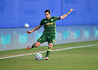 LAKE BUENA VISTA, FL - JULY 18: Diego Valeri #8 of the Portland Timbers passes the ball during a game between Houston Dynamo and Portland Timbers at ESPN Wide World of Sports on July 18, 2020 in Lake Buena Vista, Florida.
