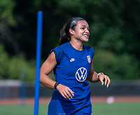 CLEVELAND, OH - SEPTEMBER 14: Sophia Smith of the United States warms up during a training session at the training fields on September 14, 2021 in Cleveland, Ohio.